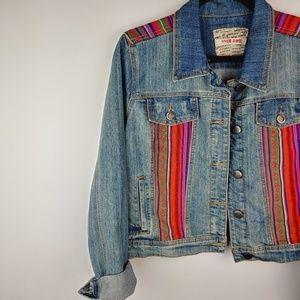 Hot Kiss Tribal Aztec Denim Jacket